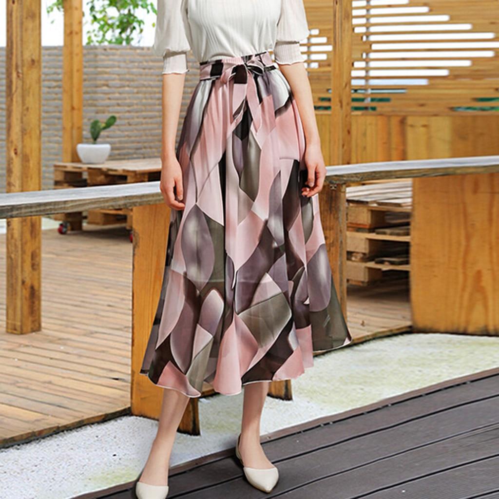 Women's Skirt Skirts faldas jupe femme shein Womens Plain Knee Length Ladies Soft Stretch Flared Printed Skater Midi Skirt #50(China)