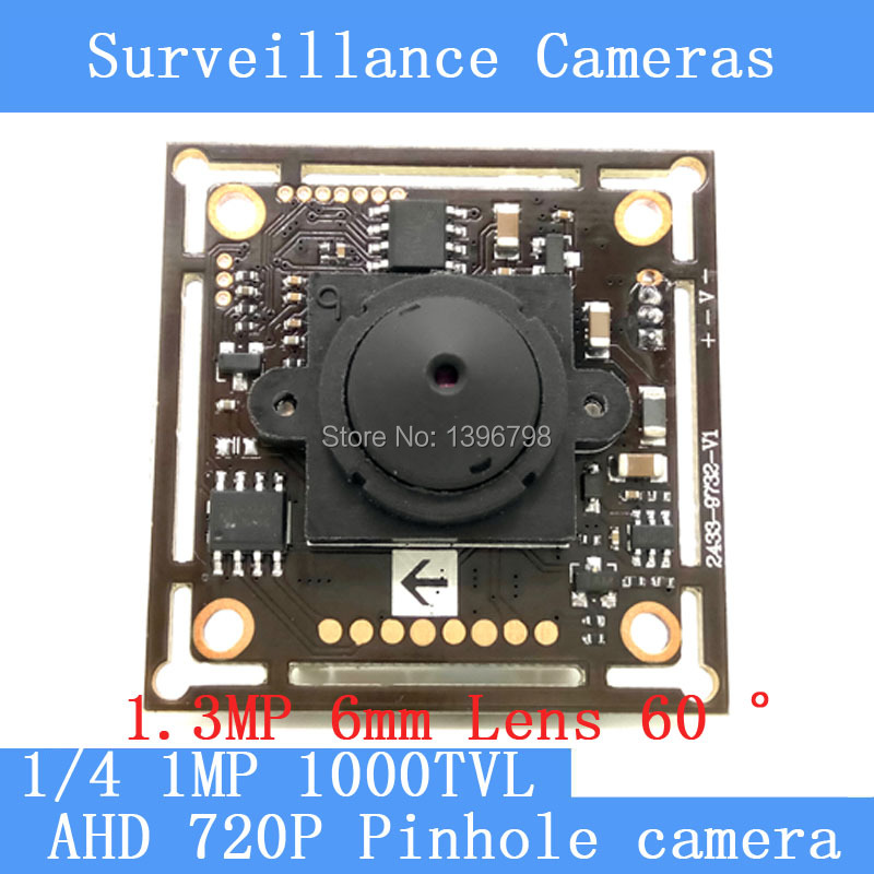 1MP AHD mini pinhole camera CCTV 1280*720P mini night vision Camera Module 1/4 HD 1.3MP 6mm lens 60 degrees surveillance camera