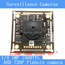 "1MP AHD mini pinhole camera CCTV 1280*720P mini night vision Camera Module 1/4 ""HD 1.3MP 6mm lens 60 degrees surveillance camera"