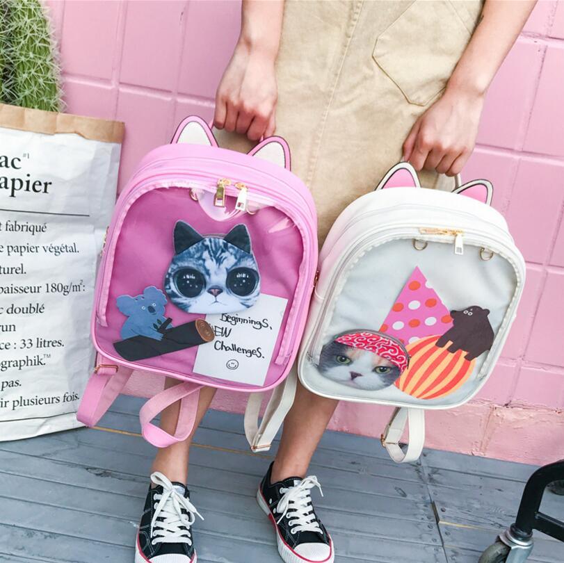 หูแมวน่ารักเป้หนังสีขนมถุงโปร่งใสผู้หญิงกระเป๋าสะพายโรงเรียนวัยรุ่นสาวเดินทางB Agpack Itabag