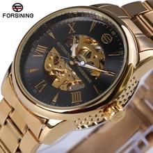 Forsining 2017 nueva serie de engranajes bisel de moda diseño casual negro reloj de los hombres de primeras marcas de lujo de oro reloj automático del reloj de los hombres