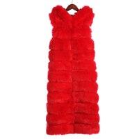 Savabien 2017 осень зима Мода X длинные Искусственный мех жилет с капюшоном Высокое качество Для женщин искусственная Меховая куртка теплые пальт