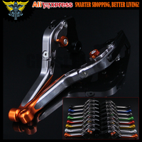 Orange Titanium Adjustable Folding Extendable Motorcycle Brake Clutch Levers For Yamaha FZ6R 2009 2010 2011 2012
