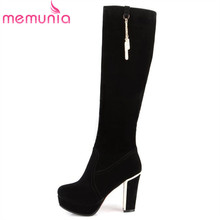 hot sale beautiful women's knee high boots flock leather thick high heels boots platform black ladies winter boots