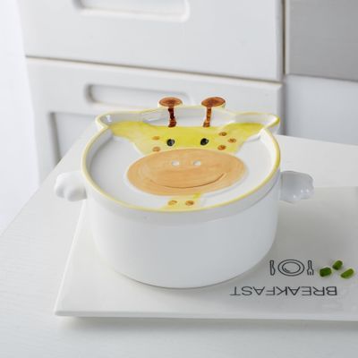 Bowls cute Giraffe instant noodles bowl with cover Cartoon double ear ceramic soup bowl Creative Japanese style tableware HJ69.5