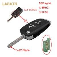 LARATH Nueva 2 Botones 433 MHz ASK Señal CE0536 Flip Clave Fob Remoto chip de alarma Para Citroen C2 C3 C4 PICASSO con PCF7961 Lámina va2