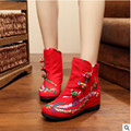 new ethnic embroidery Xiang Feng wedding women's Boots Soft bottom 3CM with the increase of slope heel boots Large code 40