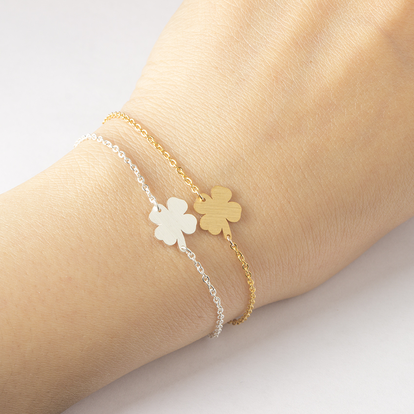 Stainless Steel Lucky Charm 4-Leaf Clover Irish Good Luck Bracelet Rose Gol..