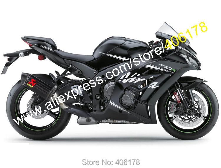 Hot Sales,Aftermarket Motorcycle Fairing For Kawasaki Ninja ZX10R 2016 ZX-10R 16 ZX 10R Matte Black Body Kit (Injection molding) hot sales work bodys for kawasaki ninja zx 10r 2006 2007 zx10r 06 07 zx 10r full black motorcycle fairings injection molding