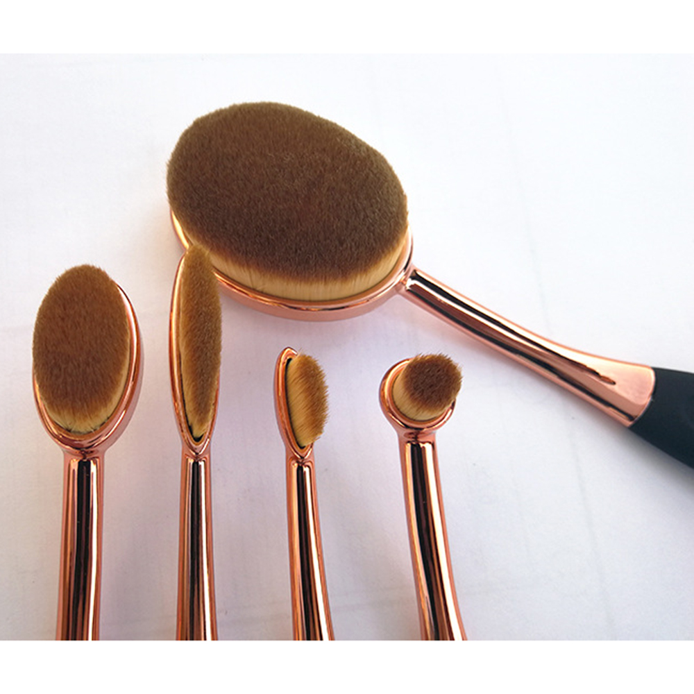 5pcs Makeup Brushes Set with Soft Oval Shaped Head for Applying Foundation Concealer and Highlighter 2