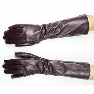 Image 4 - Eldiven Guantes 2019 nowy 38cm długo pani skórzane rękawiczki przycisk styl prosto z owczej skóry aksamitna wyściółka ciepłe jesienne i zimowe