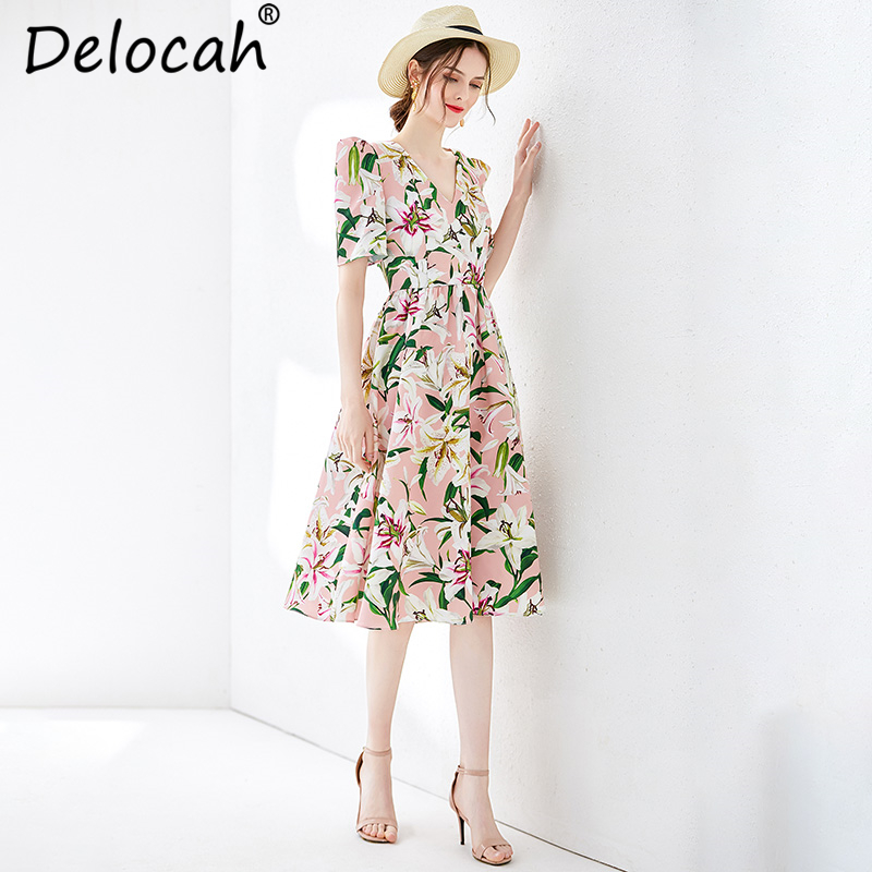 Delocah New Women Spring Summer Vintage Dress Runway Fashion V Neck Draped Lily Printed Elegant Ladies Suit for Vacation Dresses in Dresses from Women 39 s Clothing