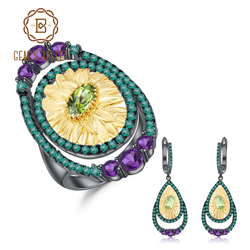GEM'S BALLET Natural Peridot Amethyst Ring Earrings Jewelry Sets 925 Sterling Silver Handmade Sunflower Jewelry Set For Women