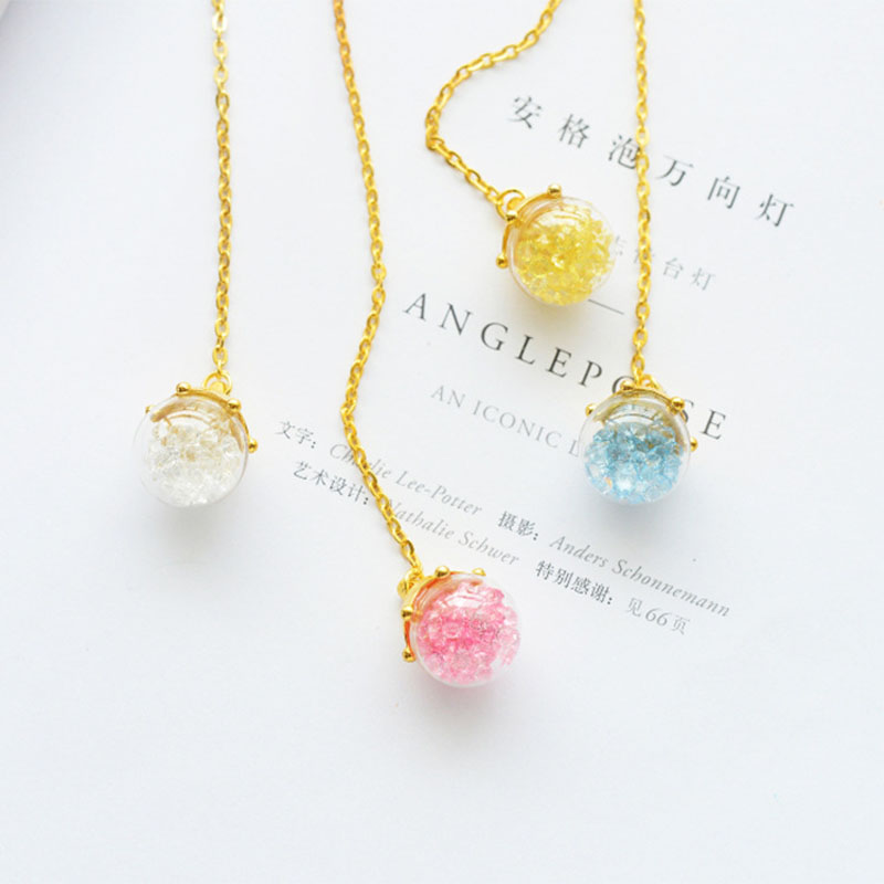 Candy Color Crystal Ball Metal Chain Pendant Bookmark Marker Of Page School Office Supply Student Stationery