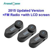 Versión actualizada! 3 unids x T-COMSC BT Interphone Bluetooth Motocicleta Intercomunicador Del Casco Auricular con pantalla LCD + FM Radio