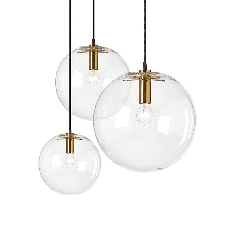 Moderne Eenvoudige Glazen Hanglamp Golden Moon Bal Opknoping Lights Suspension Restaurant Verlichting Armatuur met E27 Energiebesparing-in Hanglampen van Licht & verlichting op