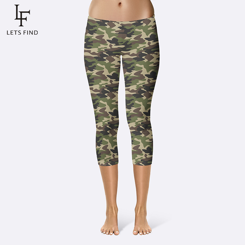 New Fashion 3D Camouflage Printing Elasticity Women Leggings Plus Size Fitness Pant Casual High Quality Milk Legging Capri Pants