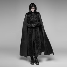 Punk Rave Mens Jackets and Coats Gothic Night Count Cloak Long Coat Stage Performance Cosplay Costume Caps