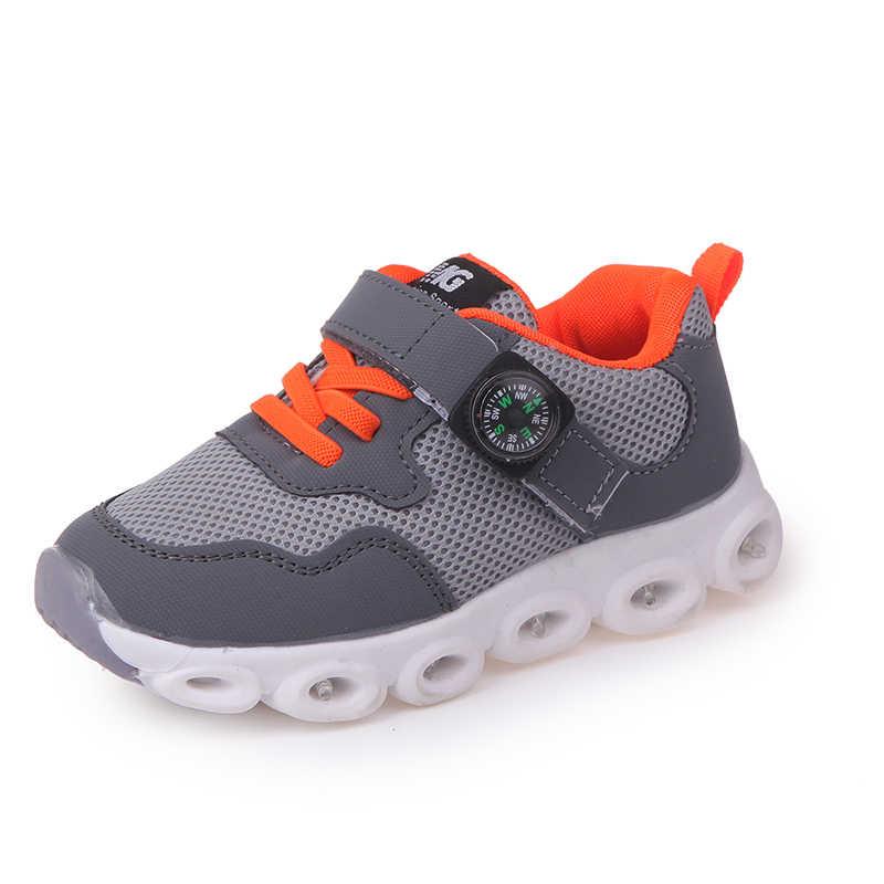 เด็กผู้หญิงรองเท้าส่องสว่างรองเท้าผ้าใบฤดูใบไม้ผลิฤดูใบไม้ร่วงรองเท้า Breathable เด็กรองเท้า
