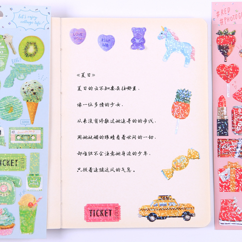 Image 4 - 20 sets/lot Kawaii Stationery Stickers Cute sparkling Diary Planner Decorative Mobile Stickers Scrapbooking DIY Craft Stickers-in Stationery Stickers from Office & School Supplies