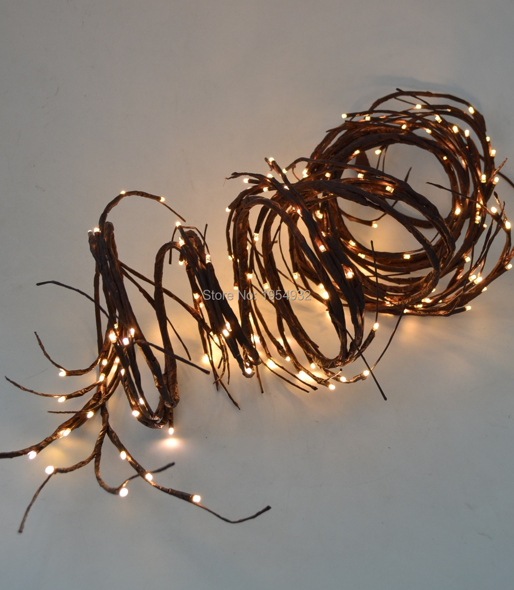 Soft Willow Twig Garland 12Ft Bendable Branch 160 PCs LED Warm White Color Electric Plug in Type with 24V Adaptor, 3m Lead wire