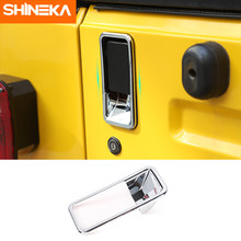 Shineka etiqueta do carro para jeep wrangler tj 1997-2006 chrome traseira maçaneta da porta tigela capa guarnição para jeep wrangler tj etiqueta