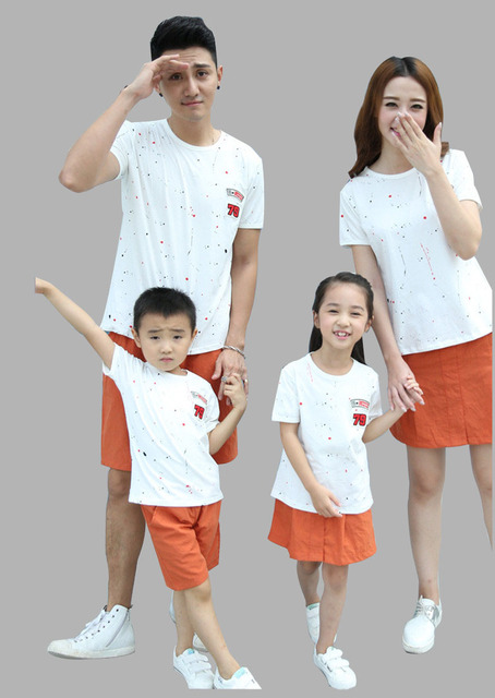 Newest fashion father and son suits t shirt+shorts mother and daughter set skirt family outfits for sale AF1622