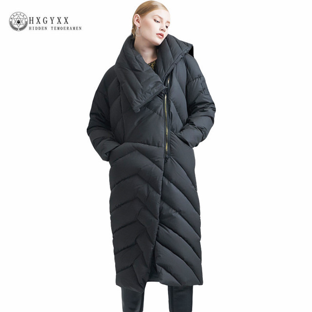 Brand Warm 90% Goose Down Coat Women Down Jackets 2019 Winter X-long  Feather Military Parka Oversize Outwear Plus Size Okb283 cbe3e92ee4