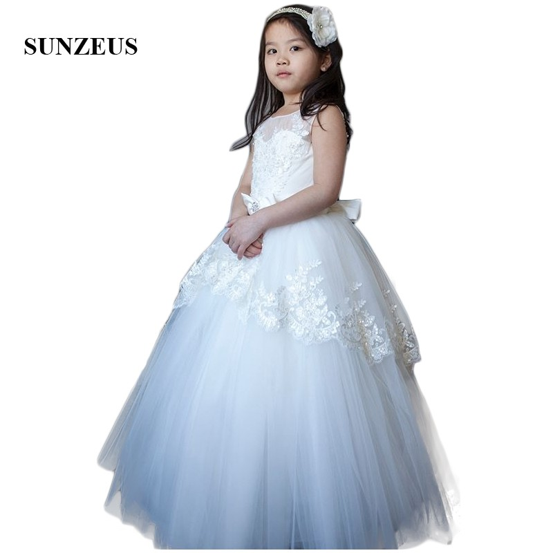 Princess   Flower     Girls     Dresses   2018 Ivory A-Line Tank   Girls   First Communion   Dresses   Long Bow Waist Tiers Skirt Wedding Party SF32