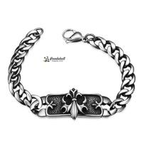 316L Stainless Steel Rectangle with Fleur De Lis Link Bracelets For Man, with Curb Chains and Lobster Claw Clasps, Antique