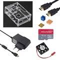 Raspberry Pi 3 Model B Plus Accessories kit Acrylic Case + CPU Fan + 5V 2.5A Power Adapter + Heat Sink for Raspberry Pi 3B+ / 3