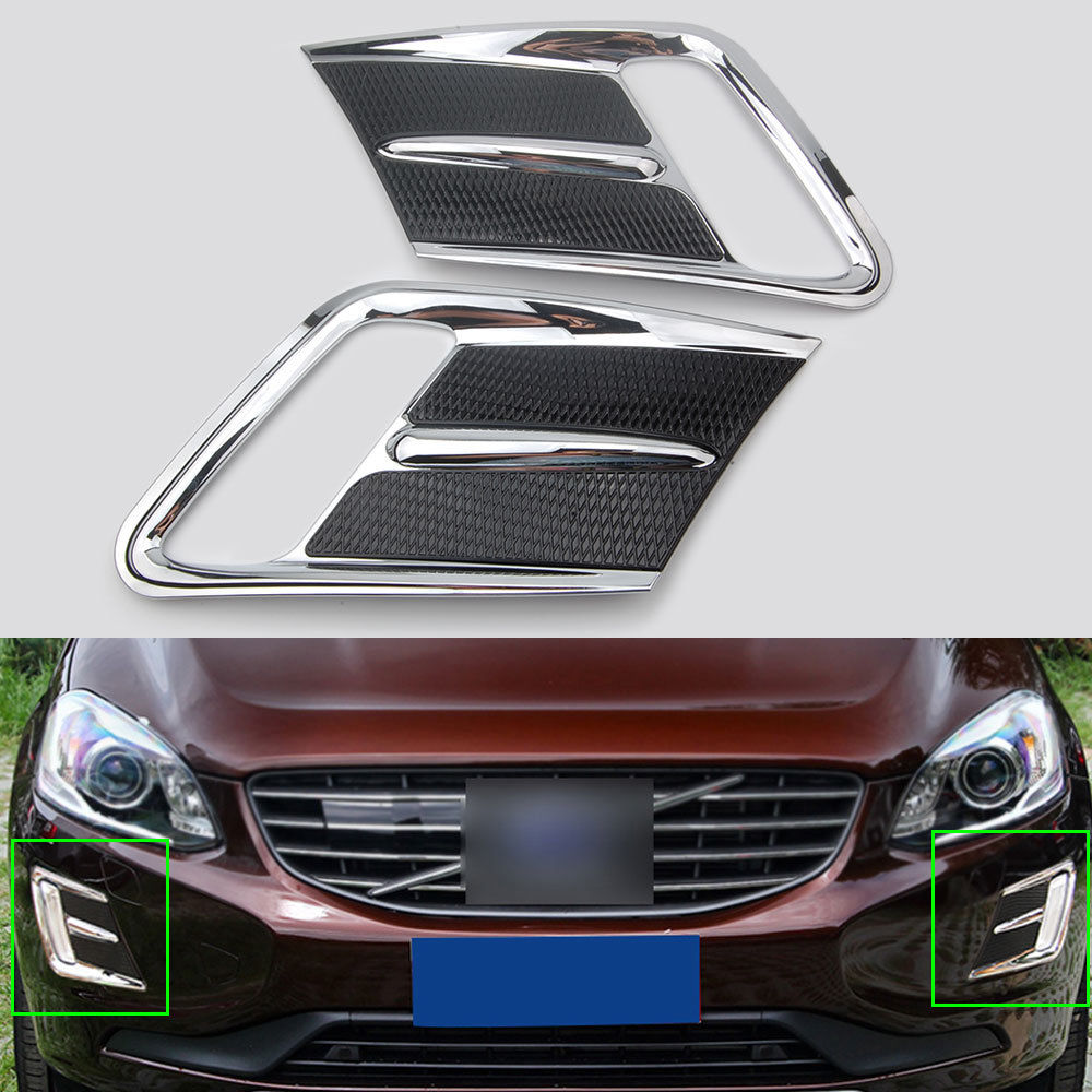 For volvo xc60 2014 2015 2016 2pcs abs chrome car front hood fog light lamp cover trim frame decorative styling accessories