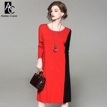 Осень-весна женщина платье Красный Черный Армейский зеленый бежевый коричневый лоскутное платье до колен случайные свободные плюс размер трикотажное платье