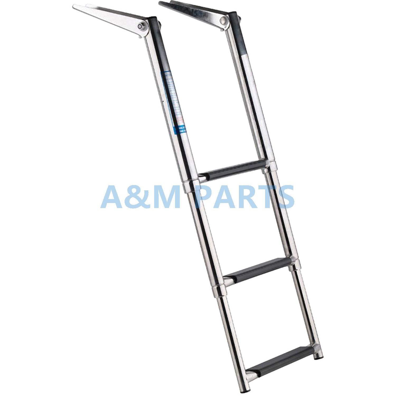 Stainless Steel 3 Step Telescopic Boat Ladder Marine Transom Boarding Ladder