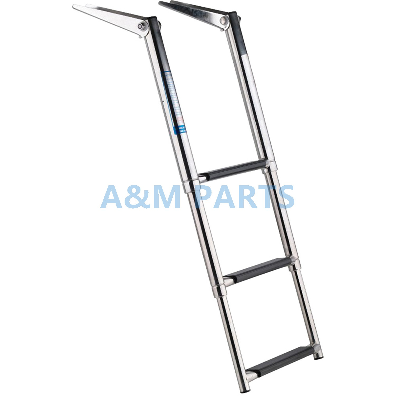Stainless Steel 3 Step Telescopic Boat Ladder - Marine Transom Boarding LadderStainless Steel 3 Step Telescopic Boat Ladder - Marine Transom Boarding Ladder