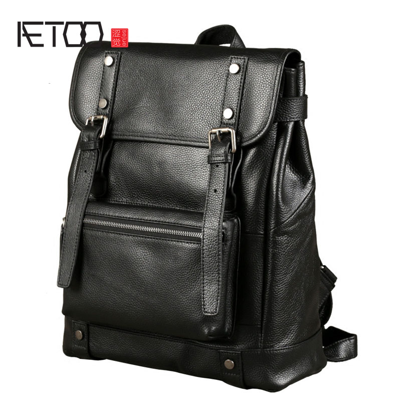 AETOO Leather shoulder bag men 's head cowhide backpack Korean version of the wind fashion trend bag leisure computer bag the head of kay s