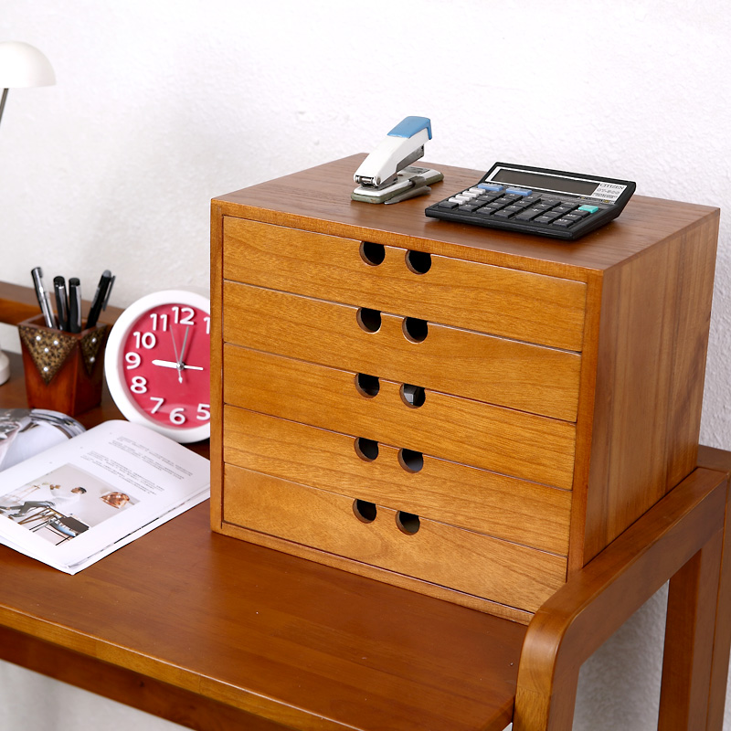 Wooden Desk Drawer Storage Box Wooden Desktop 4 File Data