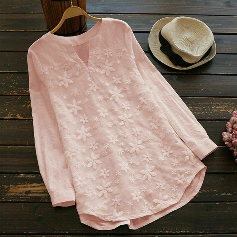 2019 Spring Women Ladies Cotton Loose Breathable Blouse Embroidery Floral V Neck Summer Casual Long Sleeve Shirt Plus Size S 5XL in Blouses amp Shirts from Women 39 s Clothing