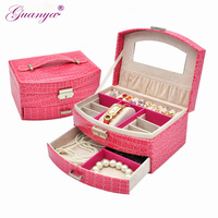 High Grade Leather Jewelry Box 2 Layers Sector Shape Cosmetic Box Storage Box Birthday Gift Makeup