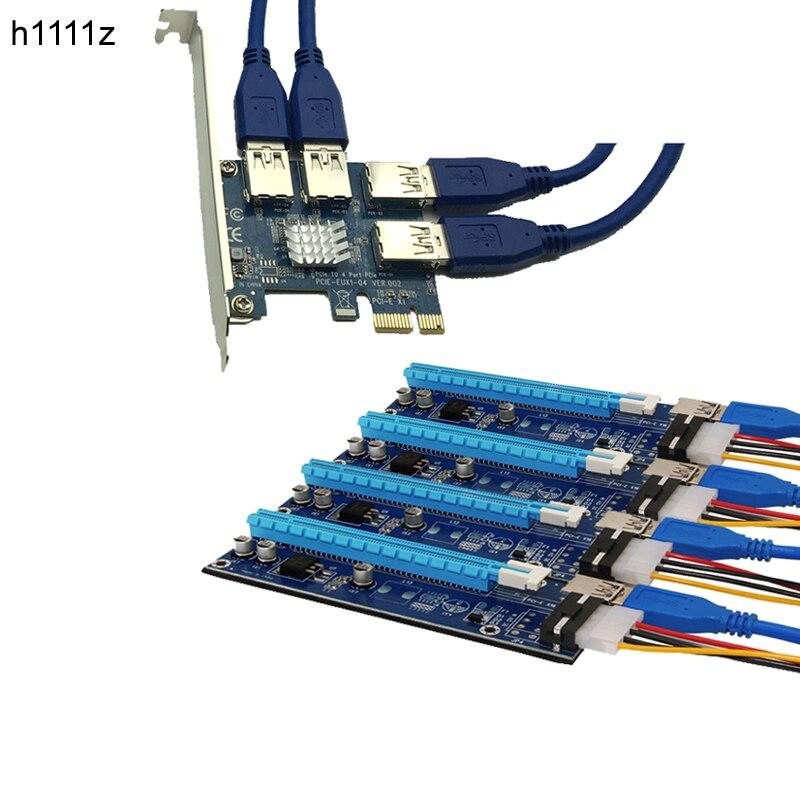 PCI Express 16X slots Riser Carte PCI-E 1X à Externe 4 PCI-e slot Adaptateur PCIe 1 À 4 Port Multiplicateur pour Ming