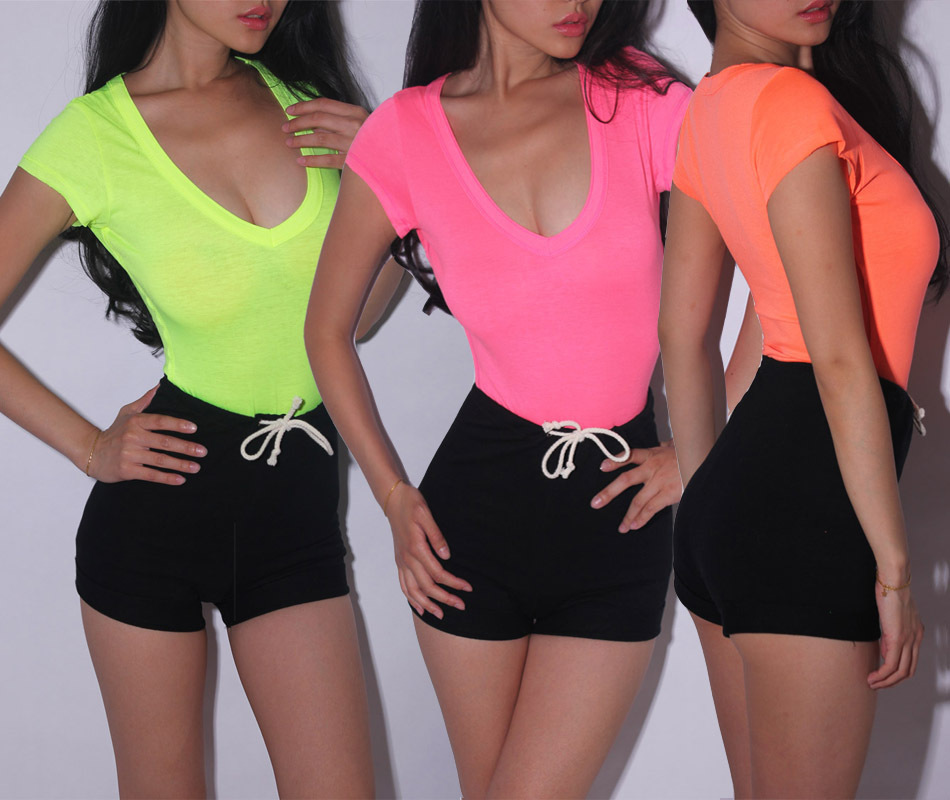 Free shipping wholesale sexy tight neon color basic women for Neon coloured t shirts