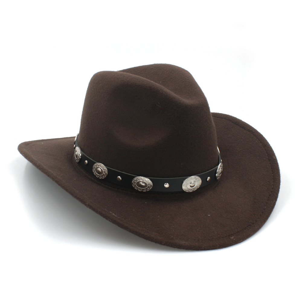 New Vintage Wool Western Cowboy Hat For Womem Men Wide Brim Cowgirl Jazz  Cap With Leather b851d75f56f