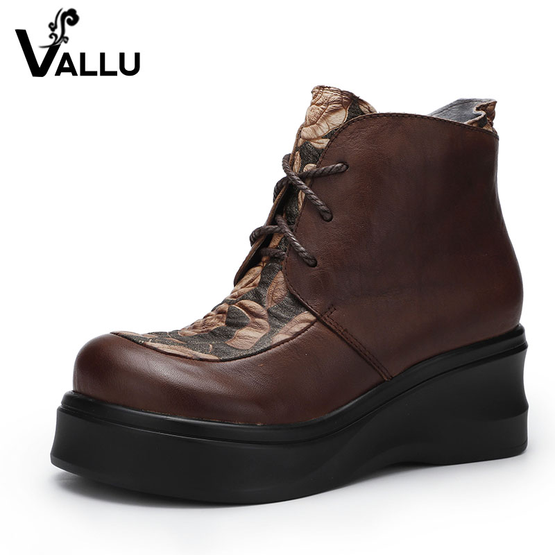 2018 Female Shoes Platform Lady Boots Genuine Leather Round Toes Soft Comfortable Wedges Women Ankle Boots