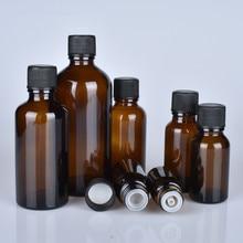 6 ชิ้น/ล็อต 100 ml 50 m 30 ml 20 ml 15 ml 10 ml 5 ml 1/3 oz 1 oz หนา Amber น้ำมันหอมระเหยขวดแก้วสีดำหมวกภาชนะแก้ว
