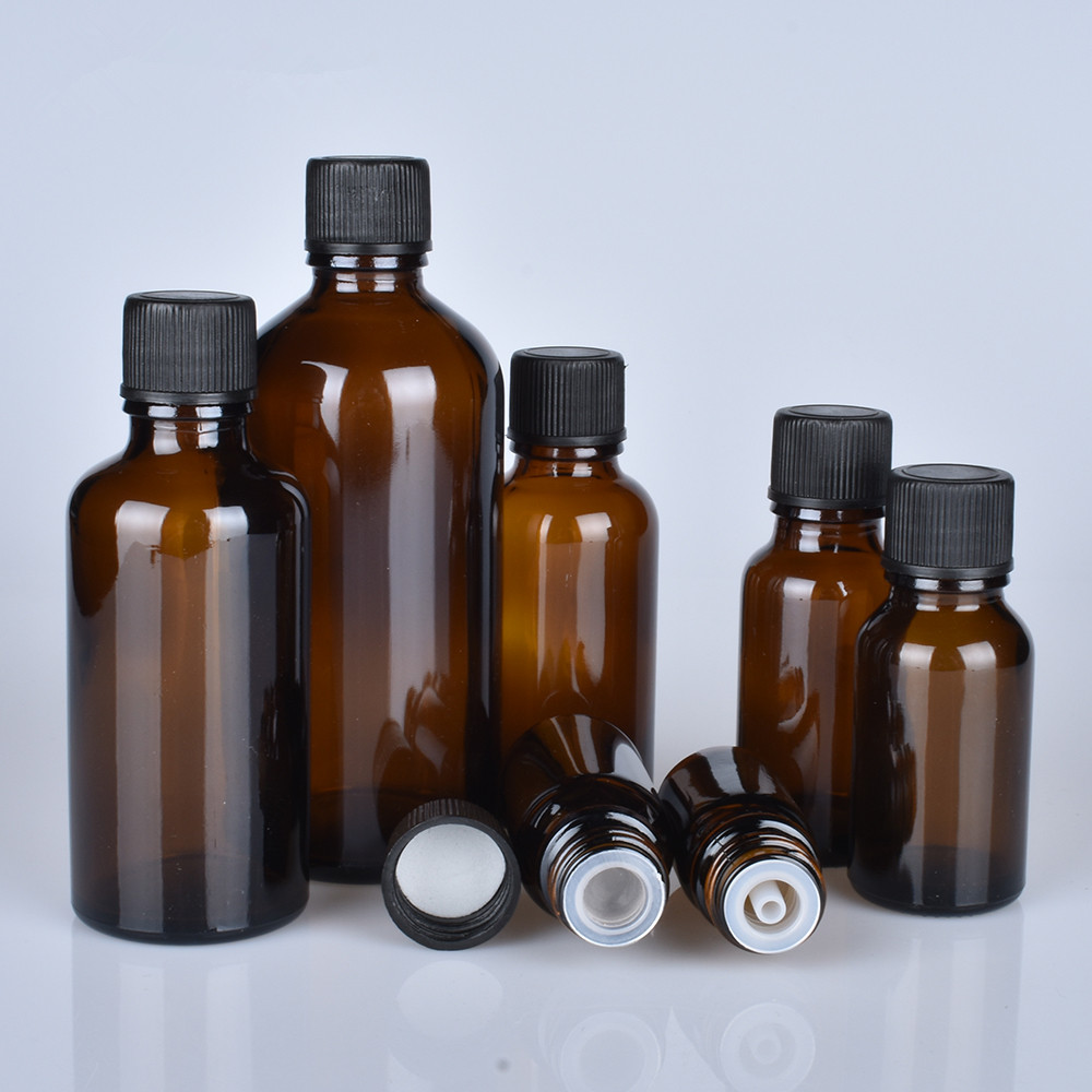 6pcs/lot 100ml 50m 30ml 20ml 15ml 10ml 5ml 1/3oz 1oz Thick Amber Essential Oil Glass Bottles With Black Cap Glass Containers