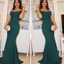 Koyu Yeşil Akşam Mermaid Elbise Seksi Kapalı Omuz Örgün Durum Elbise Uzun Abiye giyim Gelinlik Parti Elbise
