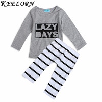 Keelorn 2017 baby boy clothes baby clothing sets cotton long-sleeved Letter T-shirt+pants Newborn baby girls clothing sets