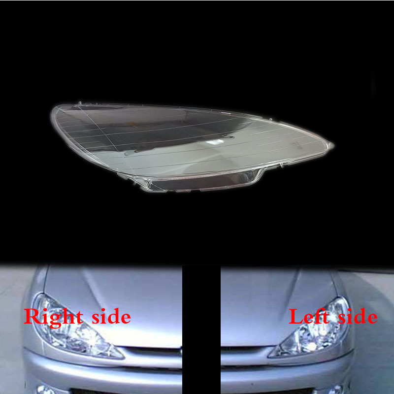 For Peugeot 206 Hatchback Front Headlamps Transparent Lampshades Lamp Shell Masks Headlights Cover Lens Headlight Glass