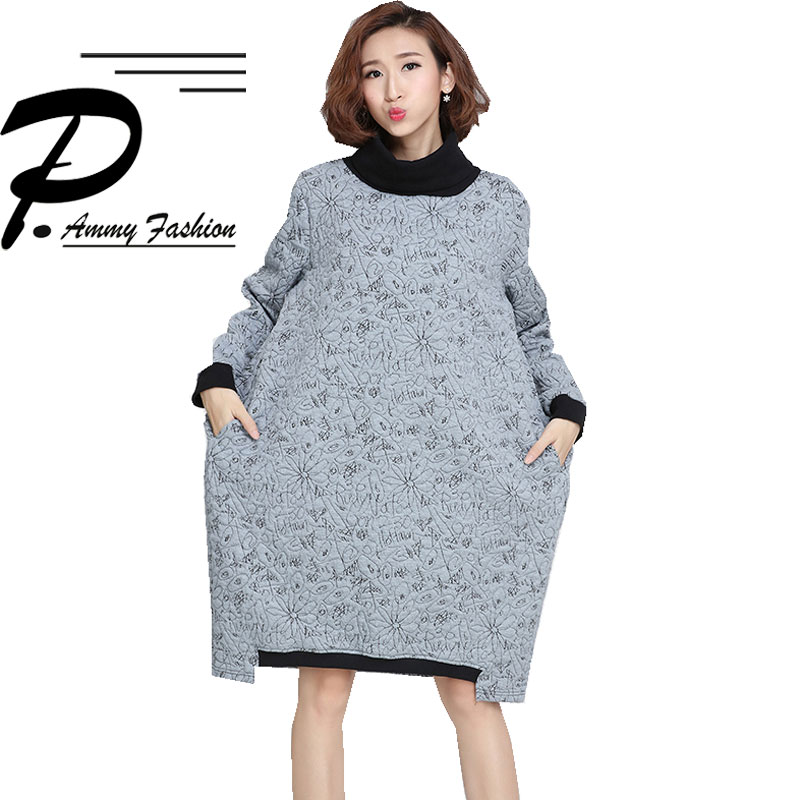 US $23.91 48% OFF|Fashion Plus Size Turtleneck Long Sleeve Padded Cotton  Jumper Dress Women\'s Warm Thickened cotton vogue Loose Tunic pullover-in ...