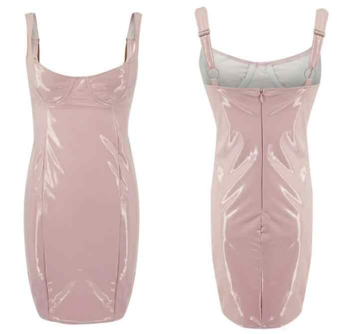 Из искусственной кожи для женщин Пикантные мини платье без рукавов женские летние Клубные Вечерние Туника Bodycon бинты с открытыми плечами